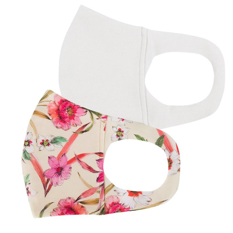 ファッションマスク【水着素材】白・小花柄 レモンイエロー 2枚セット