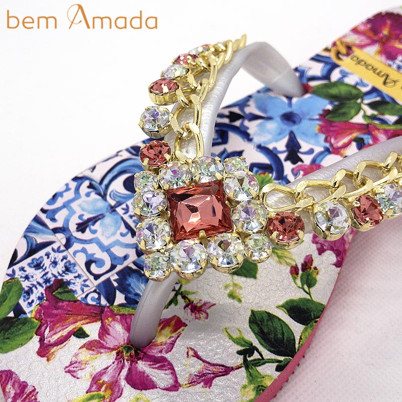■50%OFF■【bem Amada】ビジュー付きビーチサンダル【トロピカルフラワー】|ピンク