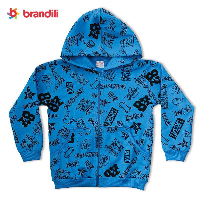 ■50%OFF■【BRANDILI】男の子フード付きパーカー レタリングデザイン|ブルー