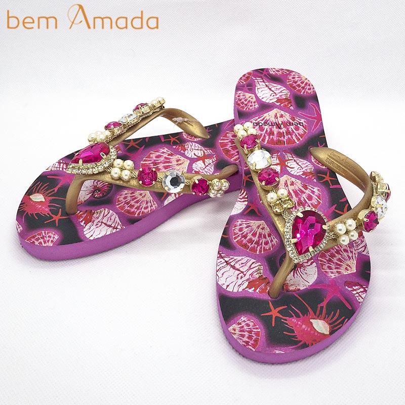 ■50%OFF■【bem Amada】ビジュー付きビーチサンダル【シェル柄】|ピンク