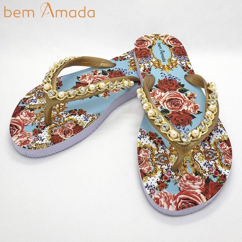 ■50%OFF■【bem Amada】ビジュー付きビーチサンダル【ローズ】 ホワイト