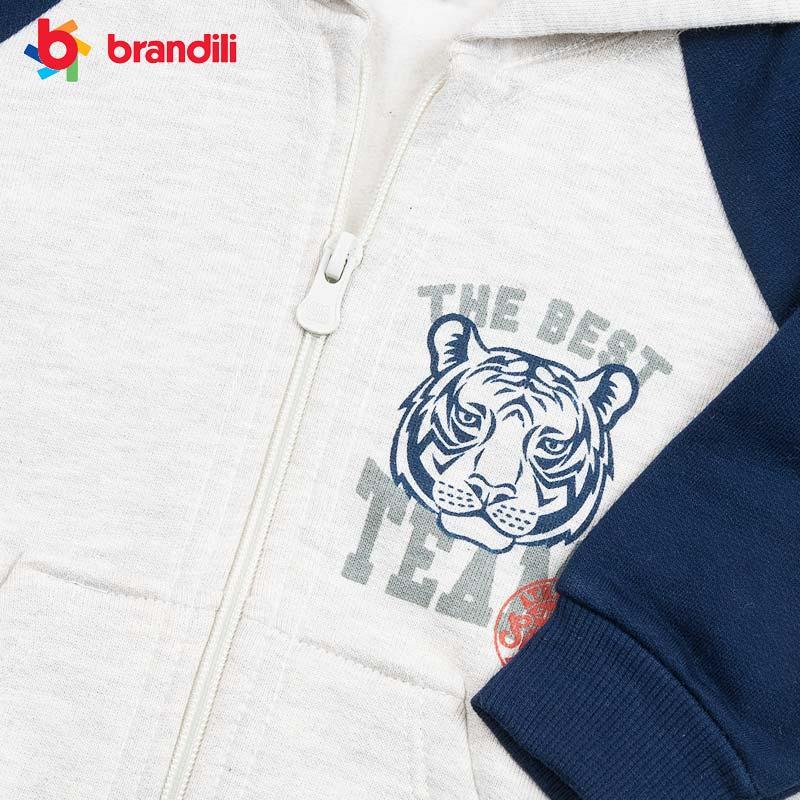 ■30%OFF■【BRANDILI】男の子 子供服 タイガー裏ボアスウェットライトグレー×ネイビー