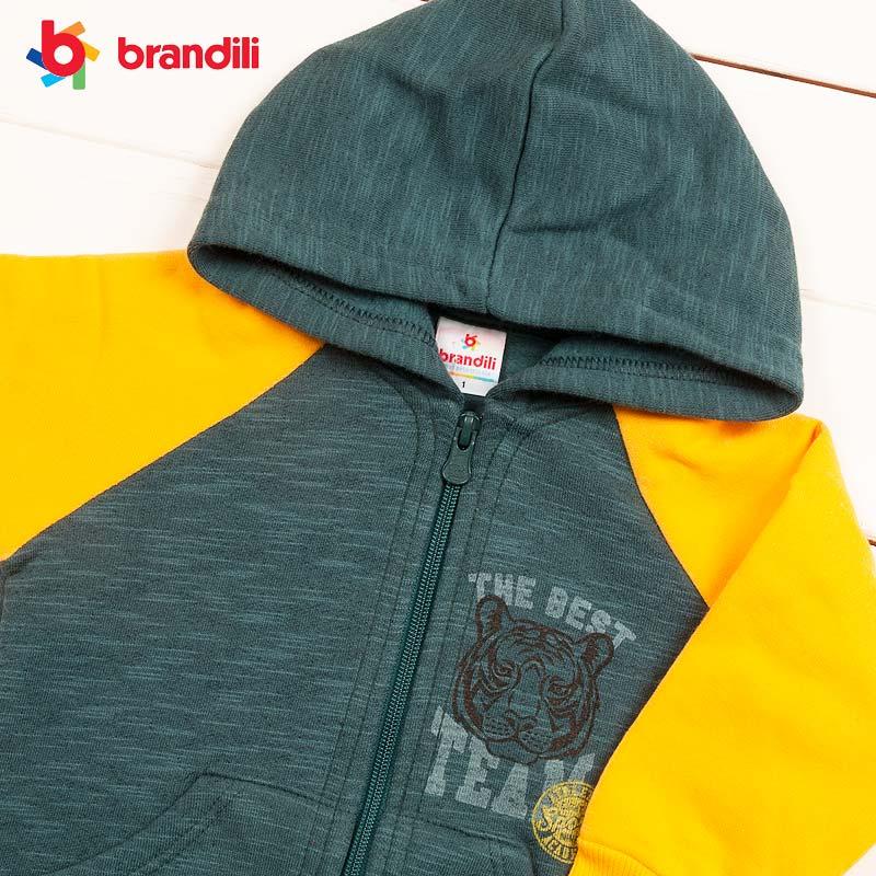 ■30%OFF■【BRANDILI】男の子 子供服 タイガー裏ボアスウェットモスグリーン×イエロー