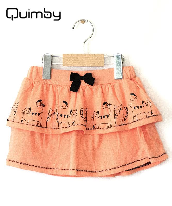 ■30%OFF■【QUIMBY】女の子Tシャツ&スカート【内側ズボン付き・かわいい】ネコ|ブラック×コーラルオレンジ