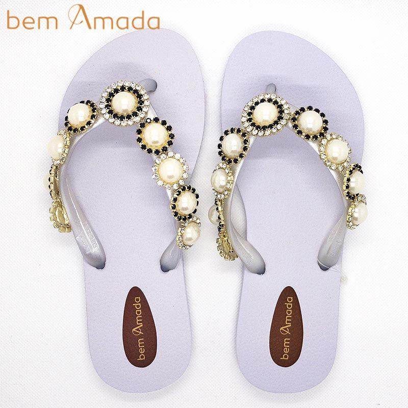 ■50%OFF■【bem Amada】ビジュー付きビーチサンダル【パール】|ホワイト