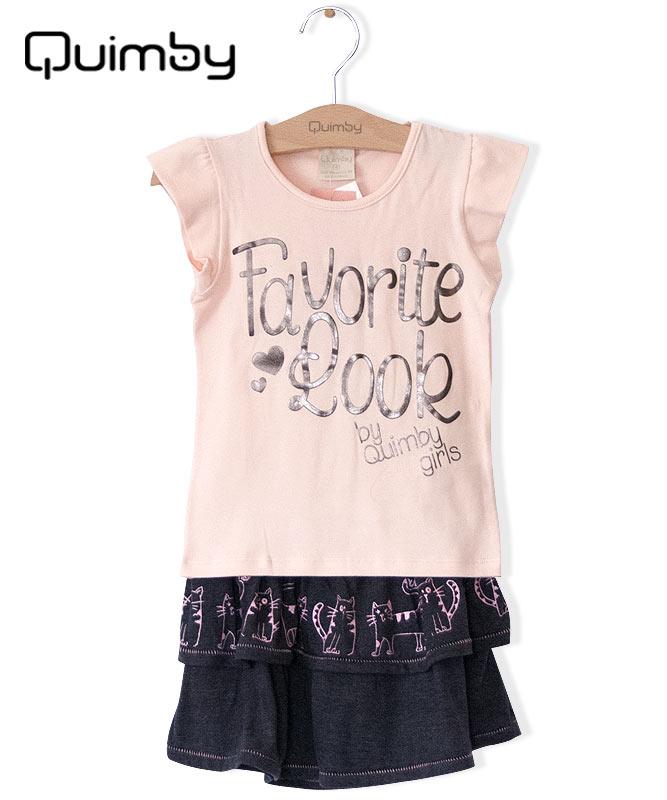 ■30%OFF■【QUIMBY】女の子Tシャツ&スカート【内側ズボン付き・かわいい】ネコ ベビーピンク×チャコール