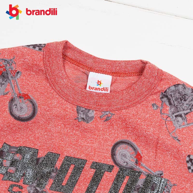 ■50%OFF■【BRANDILI】男の子服 バイク柄長袖プリントTシャツ オレンジ