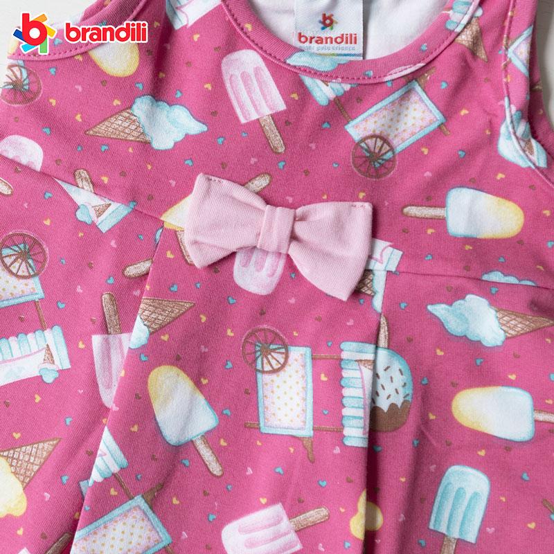アイスクリーム柄デザインワンピース 女の子【BRANDILI】ベビー服 ピンク