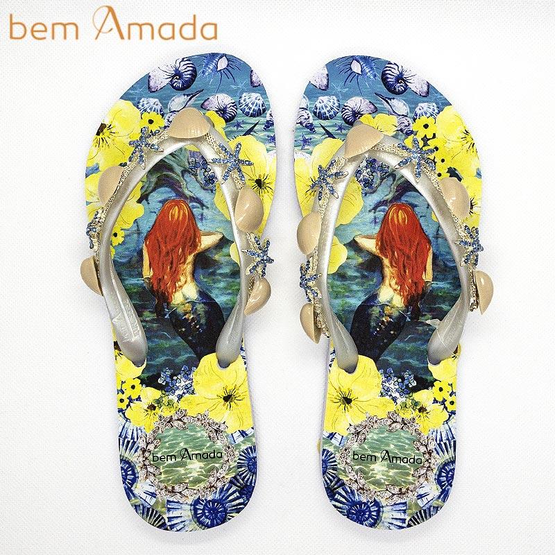 ■50%OFF■【bem Amada】ビジュー付きビーチサンダル 【マーメイドB】 ホワイト