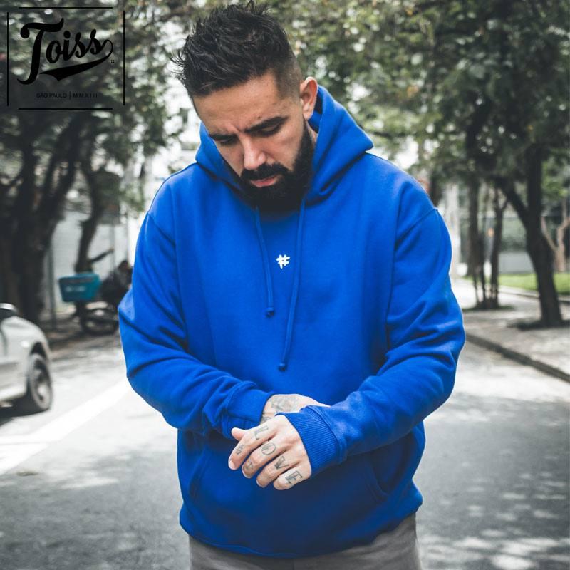 【TOISS】#デザイン フード付きプルオーバー指穴パーカー ブルー ネイマールブランド