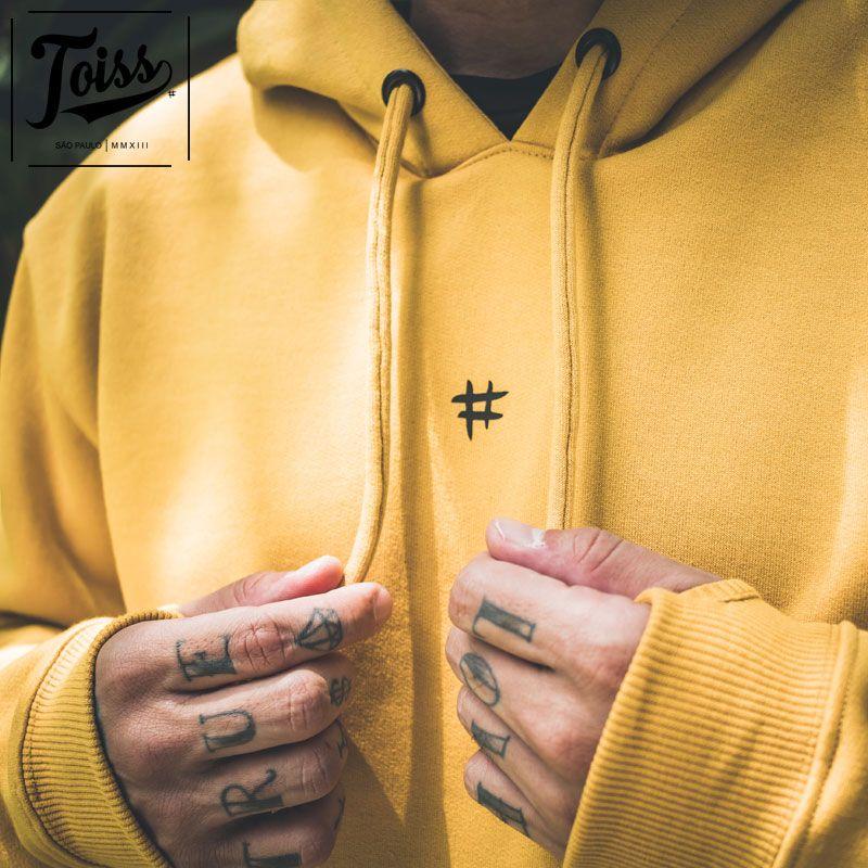【TOISS】#デザイン フード付きプルオーバー指穴パーカー マスタードイエロー ネイマールブランド