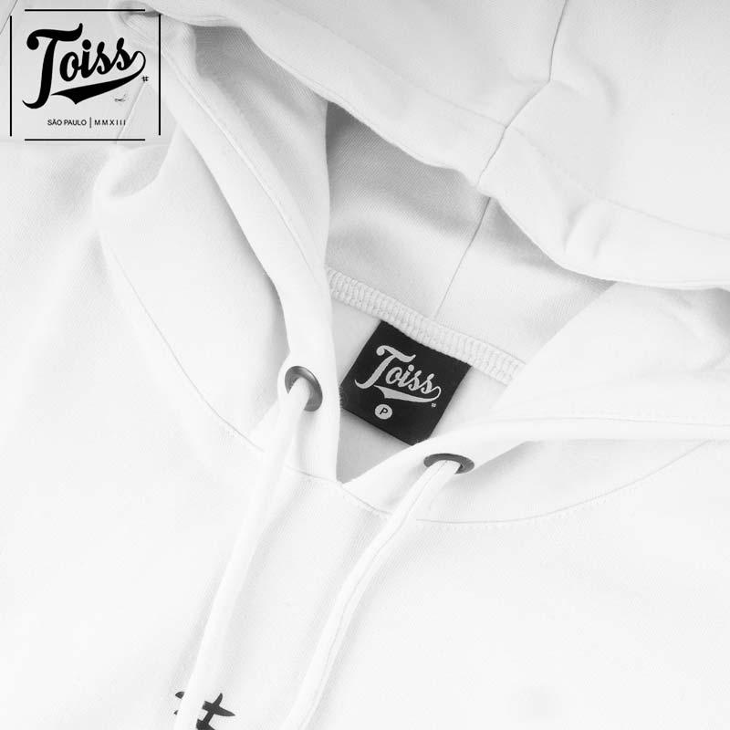 【TOISS】#デザイン フード付きプルオーバー指穴パーカー ホワイト ネイマールブランド