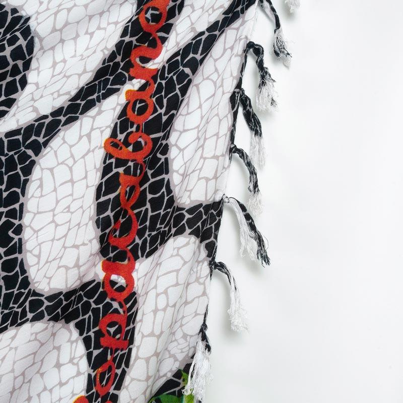 コパカバーナ柄 トロピカルフラワー【ブラジルカンガ】大判クロス マルチ パレオ