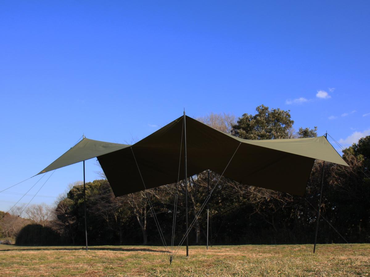 "cotton KOKAGE tarp WIDE ""BIG SHADOW"" ARMY GREEN"