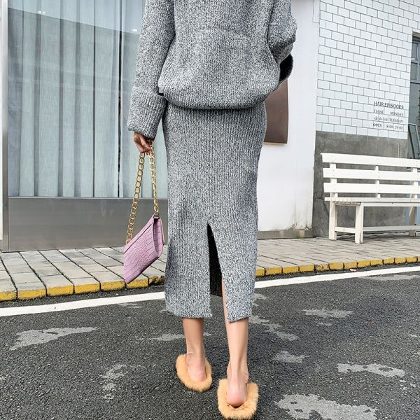 バッグスリットリブ編みロングスカート Vネック 袖広セーター セットアップ