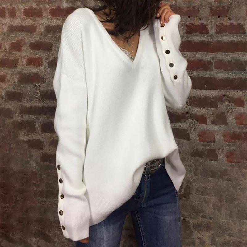 秋冬先取りSALE!!36%OFF! Vネックニット オーバーサイズ 薄手セーター 大きいサイズ