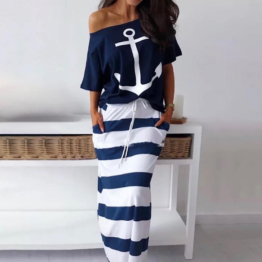 マリンスタイル セットアップ ボーダーロングスカート+Tシャツ ビーチファッション