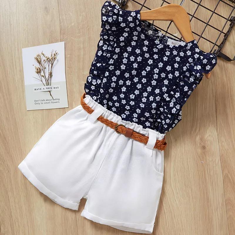 キッズ&ベビー 花柄トップス+ベルト付きパンツ ドレスセット