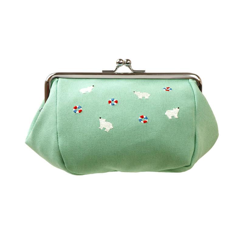 がま口 化粧ポーチ / とび刺繍5.0化粧ポーチ シロクマグリーン