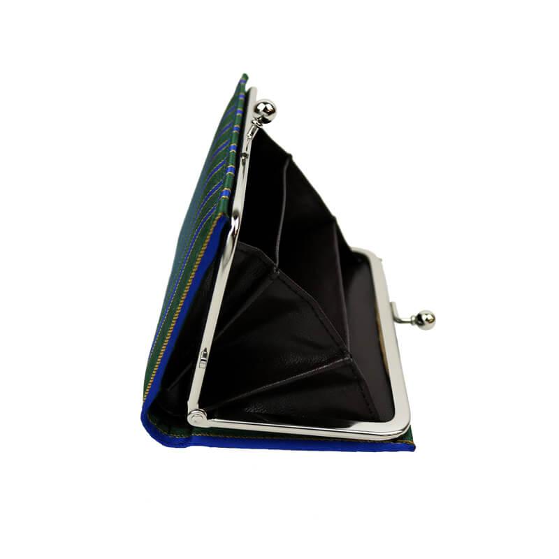 がま口 カードケース / 幾何学ジャガードじゃばらカードケース ストライプグリーン