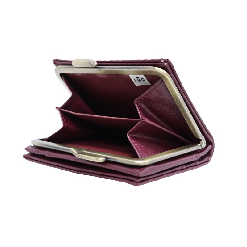 がま口 財布 / 千鳥型押し3.6折財布 ワイン