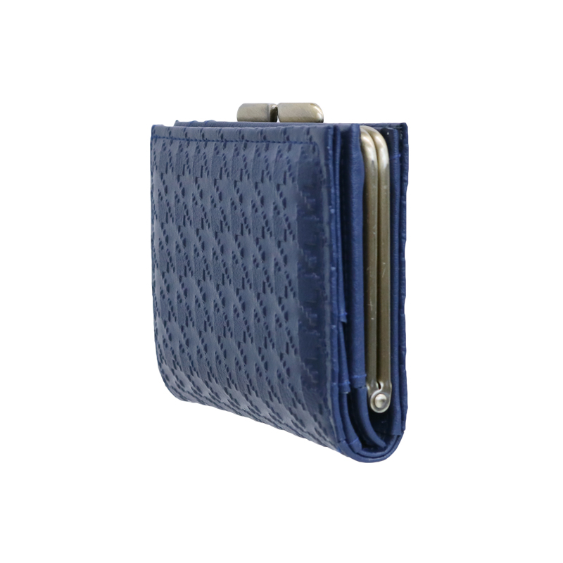 がま口 財布 / 千鳥型押し3.6折財布 ネイビー