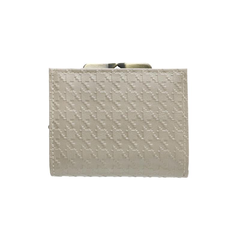 がま口 財布 / 千鳥型押し3.6折財布 グレー