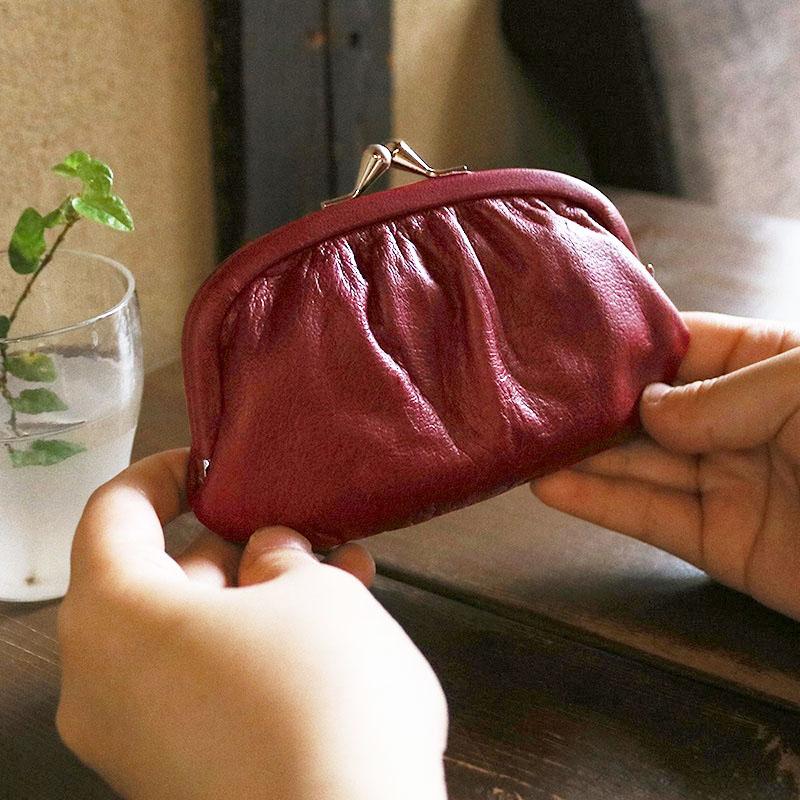 がま口 財布 / スムースレザー4.3親子 ワイン