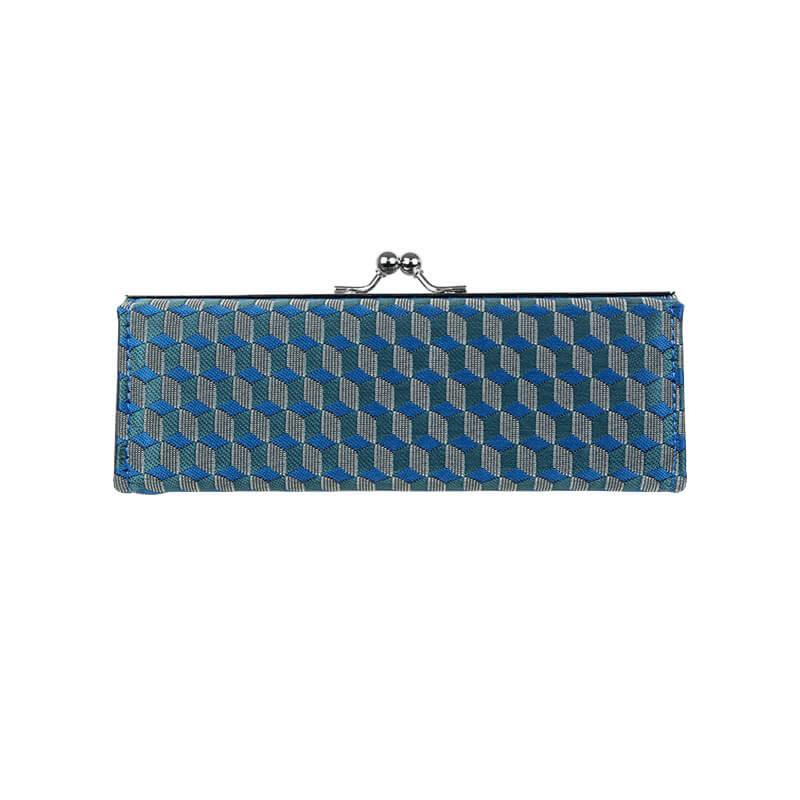 がま口 メガネケース / 幾何学ジャガード5.7メガネケース ブロックブルー