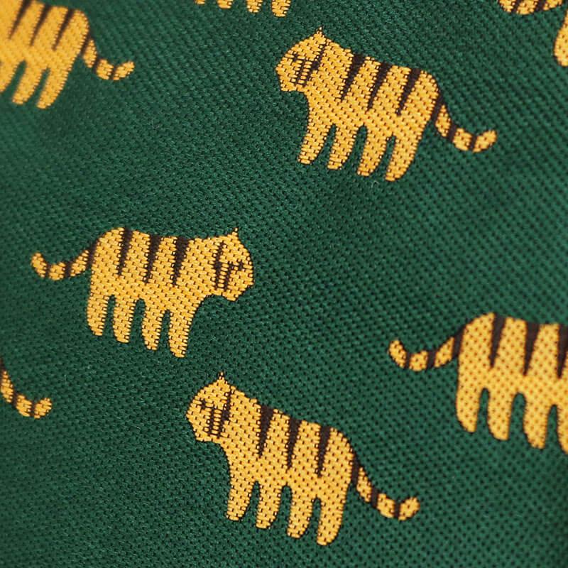 ジャガード動物5.5横長ポーチ トラグリーン