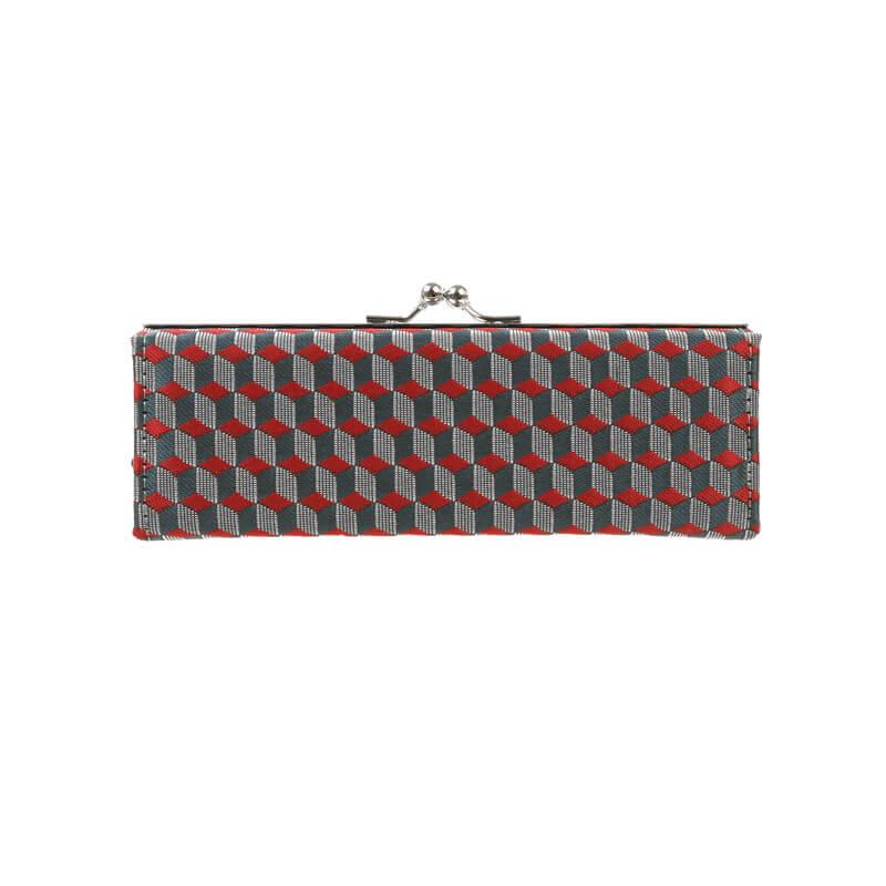 がま口 メガネケース / 幾何学ジャガード5.7メガネケース ブロックレッド