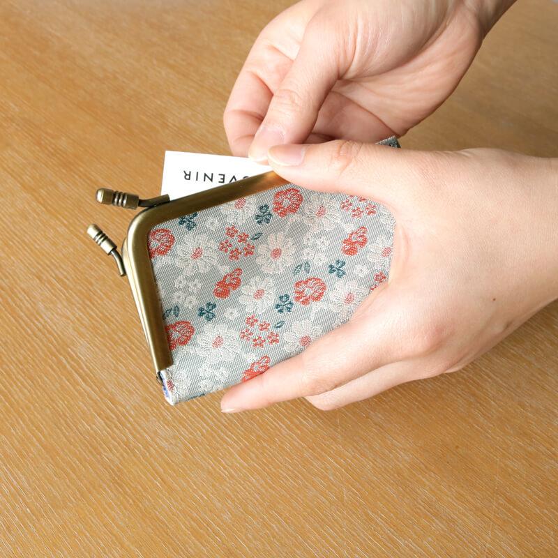 がま口 カードケース / ボタニカルジャガード3.3カードケース  ミント