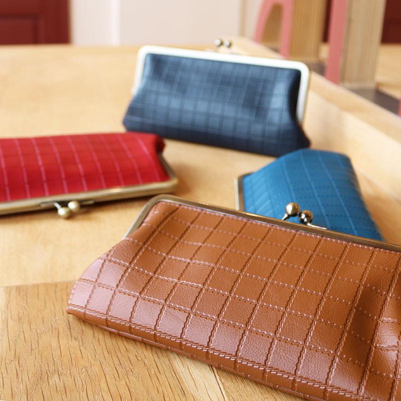 がま口 長財布 / 型押し6.6長財布 レッド