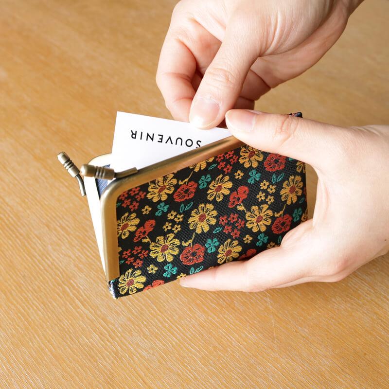 がま口 カードケース / ボタニカルジャガード3.3カードケース  ネイビー