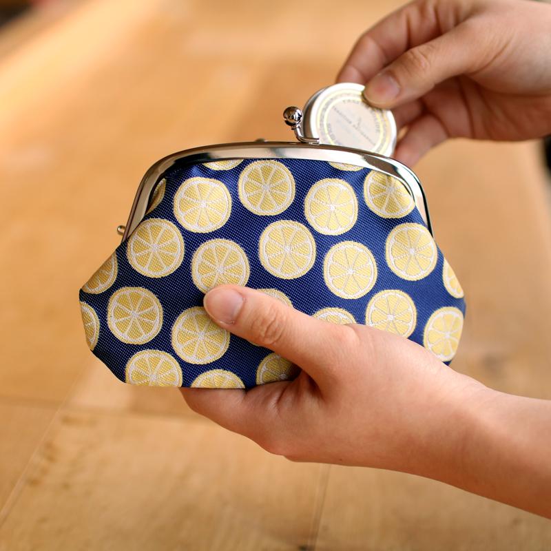 がま口 財布 / フルーツパターン4.3仕切り付き レモン