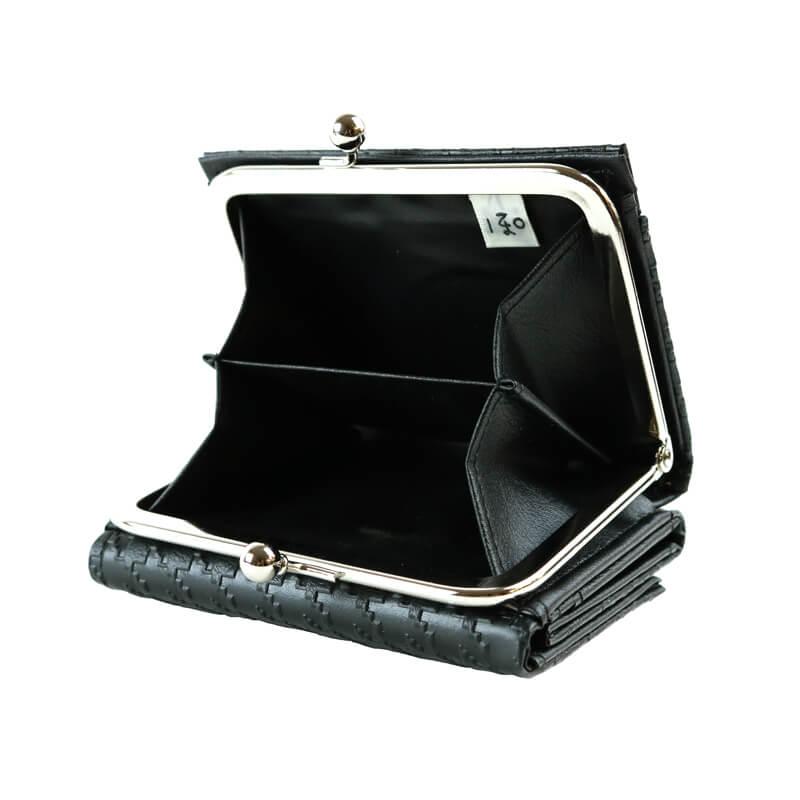 がま口 財布 / 千鳥型押しコンパクト財布 ブラック