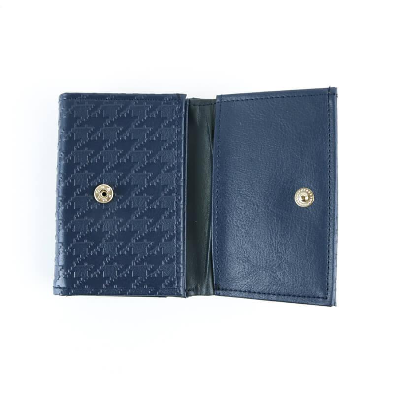 がま口 財布 / 千鳥型押しコンパクト財布 ネイビー