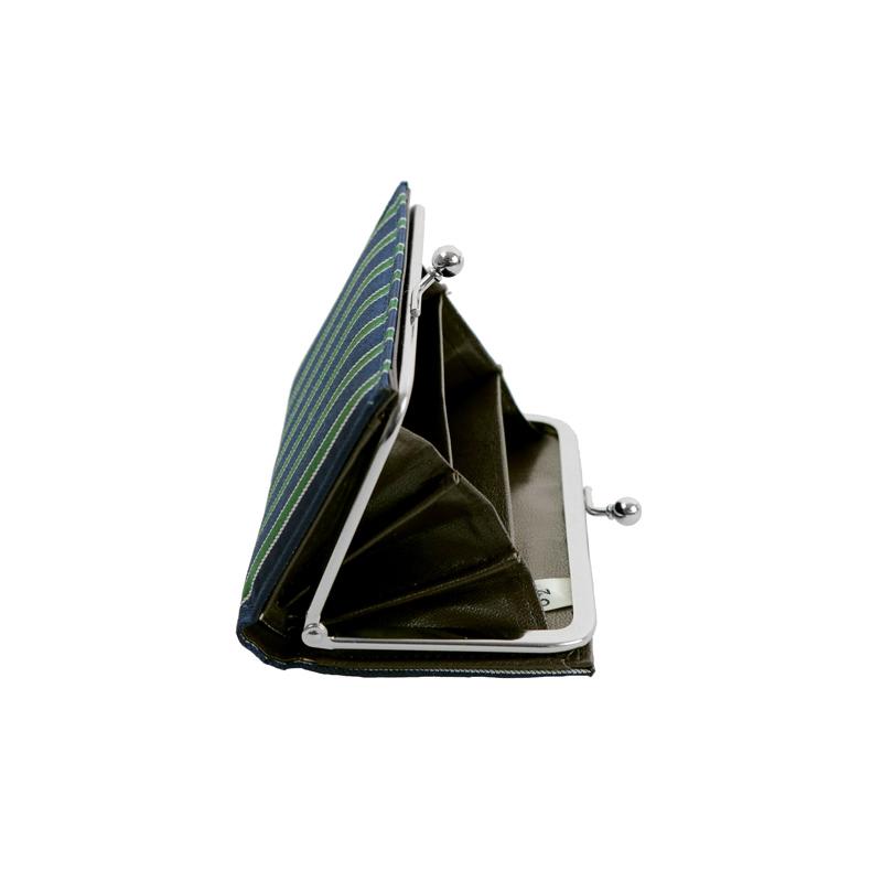 がま口 カードケース / 幾何学ジャガードじゃばらカードケース ストライプネイビー/グリーン