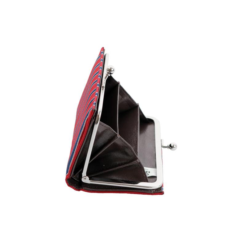がま口 カードケース / 幾何学ジャガードじゃばらカードケース ストライプレッド/ネイビー