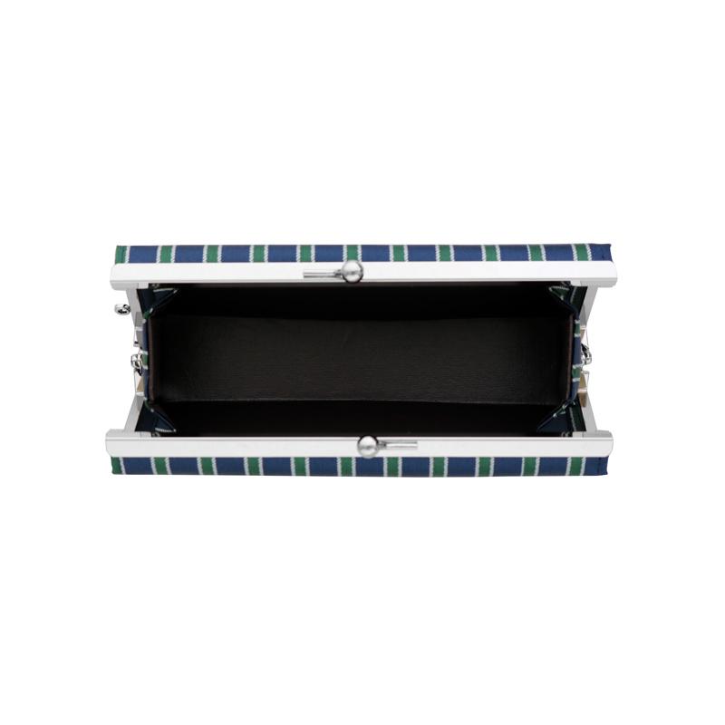 がま口 メガネケース / 幾何学ジャガード5.7メガネケース ストライプネイビー/グリーン