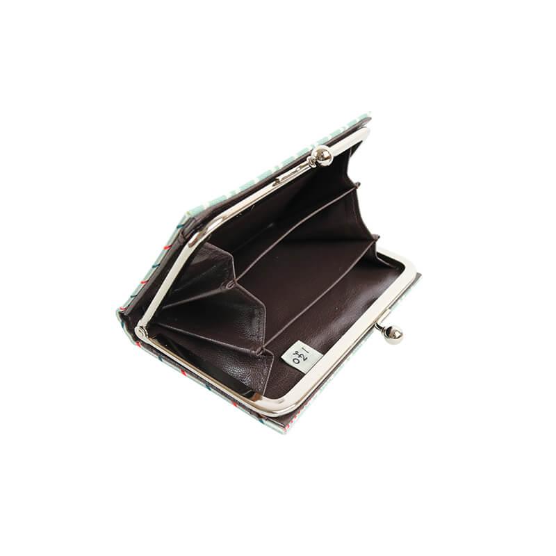 がま口 カードケース / 幾何学ジャガードじゃばらカードケース チェックライトブルー