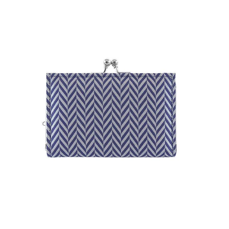 がま口 カードケース / 幾何学ジャガードじゃばらカードケース ヘリンボングレー/ブルー