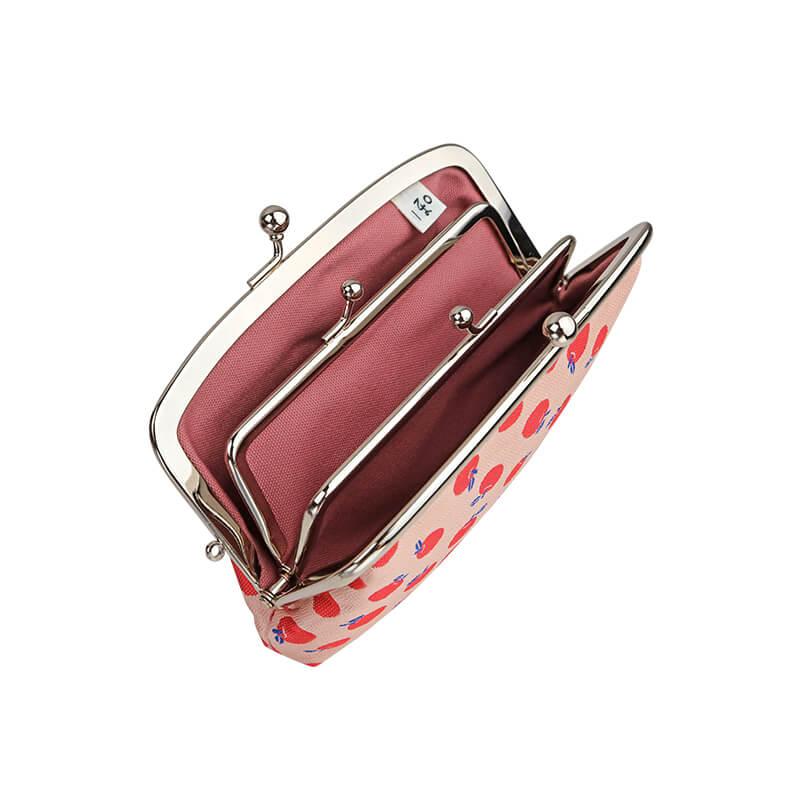 がま口 財布 / モチーフジャガード4.7親子 リンゴピンク