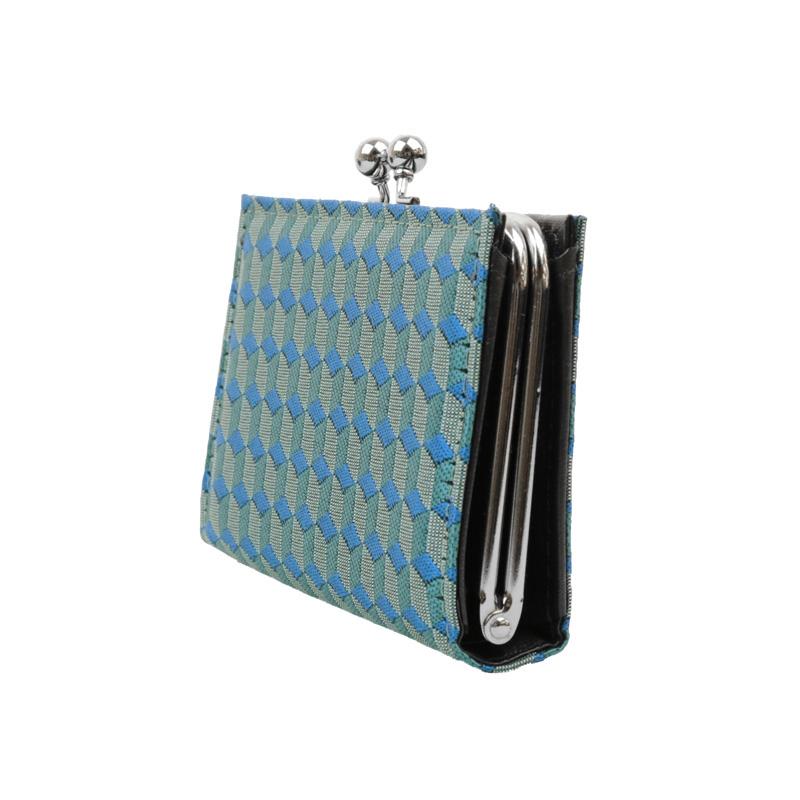 がま口 カードケース / 幾何学ジャガードじゃばらカードケース ブロックブルー
