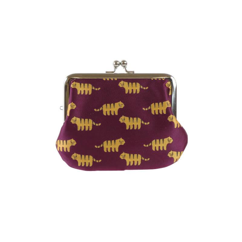 がま口 財布 / ジャガード動物3.8親子 トラパープル