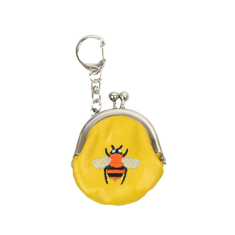 ラッキーモチーフ刺繍1.6丸がま口キーホルダー ハチ