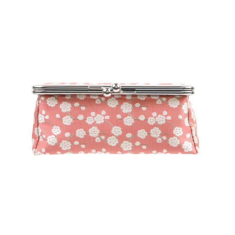 がま口 化粧ポーチ / hana4.5鏡付ポーチ 枝垂桜ピンク