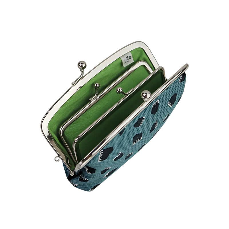 がま口 財布 / モチーフジャガード4.7親子 ピアノブルー