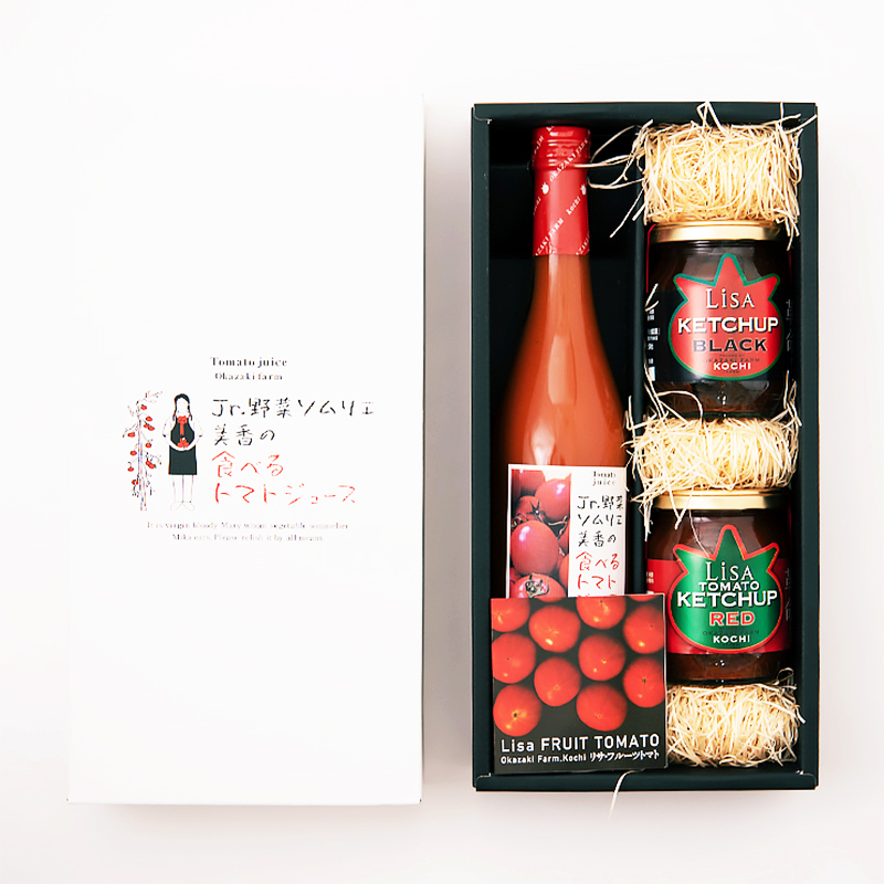 100日トマトの「食べるトマトジュース」と濃厚コクうまケチャップのセット