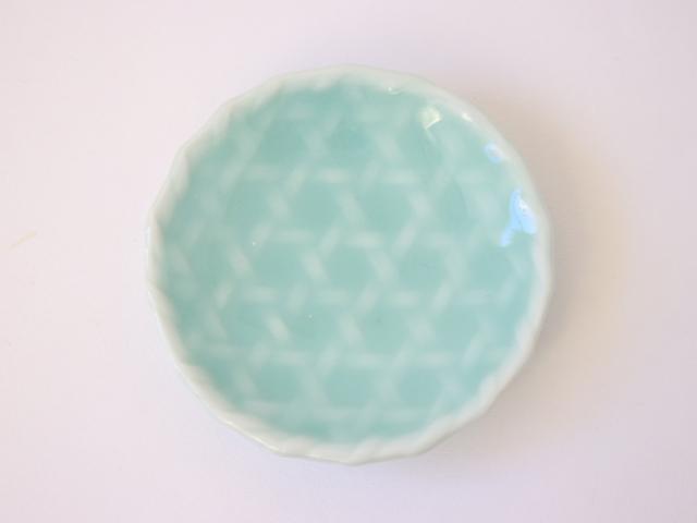 鍋島虎仙窯 鍋島青磁 菊豆皿 / 籠目豆皿 / 楓豆皿